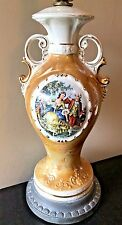 Vintage French Victorian Courting Couple Urn Ceramic Gold Yellow Table Lamp LB