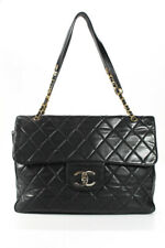 Chanel Womens Turnlock Quilted Vintage XXL Travel Flap Bag Black Leather