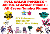 ✨Pokemon Sword & Shield Crown Tundra Isle of Armor Complete Pokedex 6IV Shiny✨