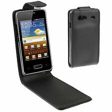 COVER CUSTODIA FLIP CASE PER SAMSUNG GALAXY S ADVANCE GT i9070 NERO SLIM PELLE