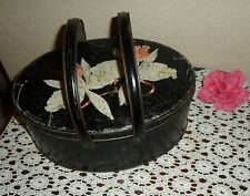 LARGE VINTAGE DOUBLE HANDLED TIN CHIC FLOWER DESIGN COOKIE BISCUIT SEWING CAN