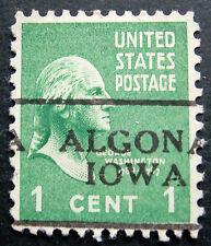 Sc # 804 ~ 1 cent Washington Issue, Precancel, ALGONA IOWA