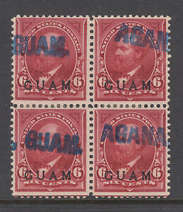 Guam Sc 6 used. 1899 6c lake with blue AGANA, GUAM cancels, block of 4, Cert
