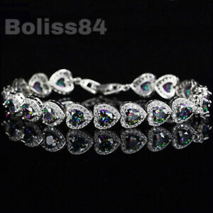 BOLISS 12ct Mystic Rainbow Topaz Heart 925 Sterling Silver Tennis Bracelet Chain