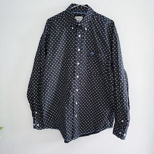 Panhandle Men's Size M Long Sleeve Button Front Shirt Blue White Pattern Western