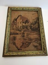 Antique 1920s La France Jacquard Picture Framed Woven Wall Art Waterfront House