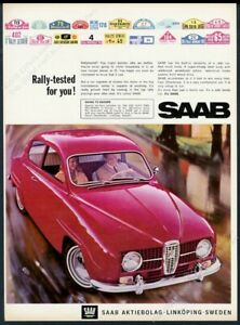 1966 Saab coupe red car color photo unusual European vintage print ad