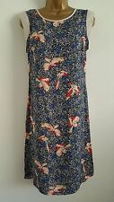NEW DP 8-10 Bird Printed Tunic Shift Dress White Blue Red Summer Casual Holiday