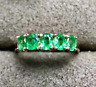 14k Yellow gold Over Emerald Ring 3X4 Natural Emerald Gemstones Simple Ring