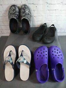 Lot of 4 women's CROCS ballet flats, classic purple clog, slides, flip flop / 8