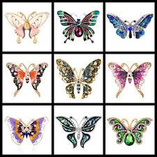 Beautiful Butterfly Brooch Diamante Enamel Red Pink Purple Butterfly Broach Pin