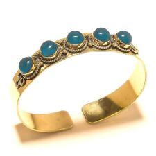 Chalcedony 925 Tibetan Silver Brass Cuff Handmade Fashion Jewelry