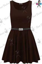 Vestiti da donna marrone corto, mini senza maniche