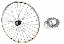 700c REAR TRACK Mach Omega 16T Fixie Bike Wheel White Rim & Black Spokes