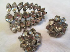 Antique Art Deco Silver Crystal Rhinestone Brooch Silver-tone E'ring Jewelry Lot