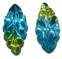 Vintage Perdiot Sabrina Green Glass Navette Marquise Foiled Cabochon 10 X 5 mm