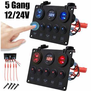 12V/24V Switch Panel Cigarette Lighter Socket USB Charger Voltmeter Car Boat HOT