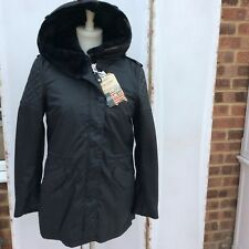 Stunning Schott NYC Black Leather Sleeve Parka Coat - BNWT