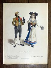 Lithographie 1900 Alsacien et Alsacienne MODE COSTUME Coiffure Parisienne