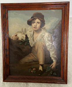 Vintage Paint by Number Oil Painting Boy And Rabbit Sir Henry Raeburn Framed