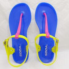 Womens Adjustable Strap PVC Thongs Sandals Flat Shoes SODA IAN-S FU/YE Size 6