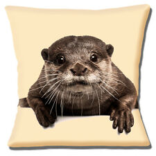 "Novelty Cute Young Brown Otter Photo Print on Cream 16""x16"" 40cm Cushion Cover"