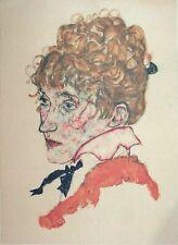 Egon Schiele, Portrait of Edith Schiele, Hand Signed Lithograph