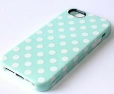 For iPhone SE 5S - HARD & SOFT RUBBER ARMOR CASE COVER TURQUOISE BLUE POLKA DOTS
