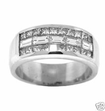 2.20PRINCESS & BAGUETTE Invisible Set Wedding Anniversary Band in 18K White Gold