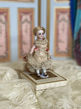 """4"""" c.1890 Antique French Bisque Mignonette Doll Beautiful Dress With Ribbons"""