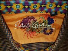 Robert Graham Dress Shirt Brown Optical Illusion Size M Fancy Cuffs Collar EUC