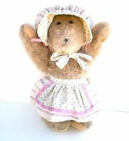 Vintage Teddy Bear Mohair Jointed Stuffed Animal with White & Pink Apron & Cap
