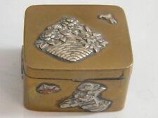 Fine Antique Japanese Meiji Period signé cartouche Laiton Charnière Boîte,n°LL54