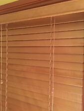 Ready To Hang ~Solid  Timber Venetian Blinds 50mm  - Teak - 60 Cm X 137 cm.New.
