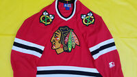 Chicago Blackhawks Jersey red retro Starter Black Hawks jersey nhl mens LARGE