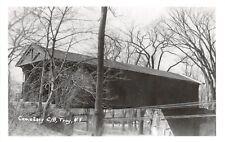D77/ Troy New York NY RPPC Postcard c50s Cemetery Covered Bridge 5