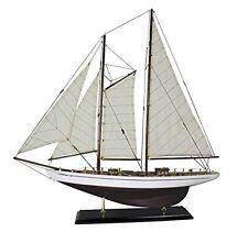 Große Yacht, Segelschiff, Schiffsmodell Segelyacht aus Holz mit Leinensegel 75cm