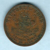 Australia Token. Stokes  - 1862 Penny.. Melbourne Vic..   Arms & Vine .. VF