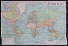 Grande carte PLANISPHERE TARIDE Les 5 parties du Monde map karte 111x75 cm
