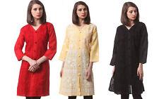 Lucknow Cotton Top Chikankari Kurta Hand Embroidery Indian Straight Kurti ShirtS
