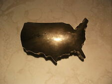 Vintage Usa Shaped Desk Paperweight Silver Tone Map Rare Htf Ooak