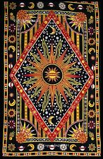 Indian Twin Multicolor Sun 'N' Moon Tapestry Decor Cotton Bed Cover Wall Hanging