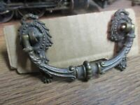 VINTAGE ANTIQUE ORNATE BRASS DRAWER PULL  DROP RING HARDWARE DOOR HANDLES J ARCO