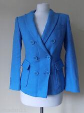 BENETTON Women's Linen Jacket Size 8 Turquoise Blue