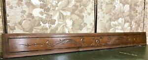 Blazon scroll leaf carving pediment Antique french salvaged crest cornice