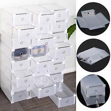 24x Schuhkarton Schuhbox Schuhaufbewahrung Stapelbox transparent mit Deckel NEU