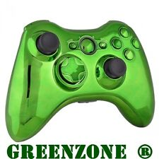 Replacement Chrome Green Controller Shell + Buttons Mod Kit for Xbox 360