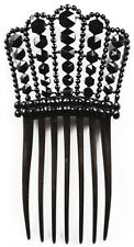 Antique Jet Studded Hair Comb Victorian Era