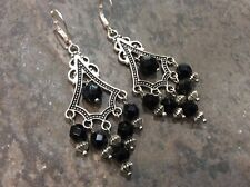 Black Boho chic Chandelier Earrings with Sterling Silver lever backs