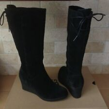 UGG Dawna Black Waterproof Suede Bow Wedge Knee High Boots Size US 7 Womens